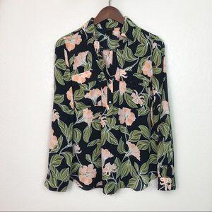 Ann Taylor Factory Button Down Floral Shirt M